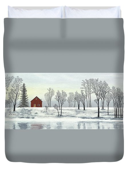 Red Barn In Winter Duvet Cover