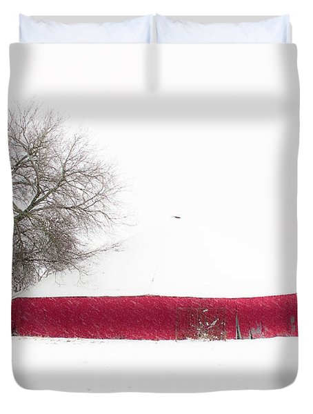 Red Barn In Winter Duvet Cover by Tamyra Ayles