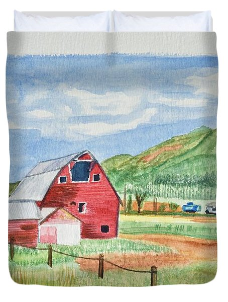 Red Barn Landscape Duvet Cover