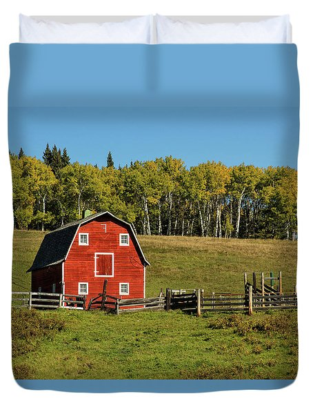 Red Barn On The Hill Duvet Cover