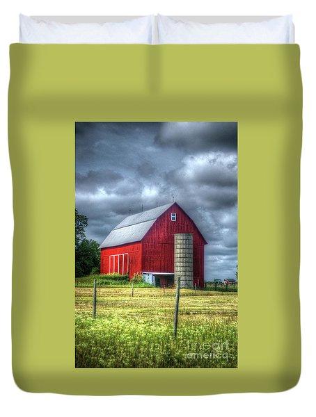 Red Barn Duvet Cover by Randy Pollard