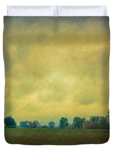 Red Barn Under Stormy Skies Duvet Cover by Don Schwartz