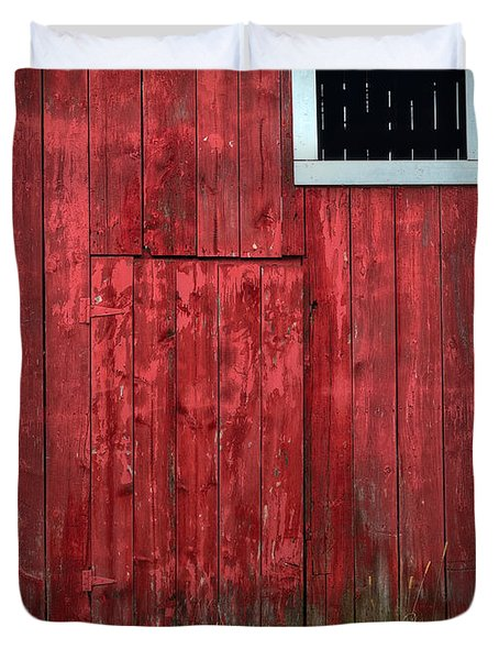 Red Barn Wall Duvet Cover by Steve Gadomski
