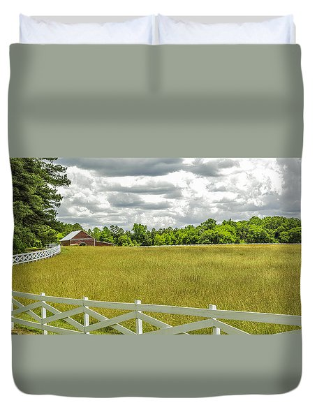 Red Barn White Fence Panorama 02 Duvet Cover