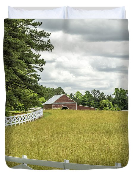 Red Barn White Fence Panorama 03 Duvet Cover