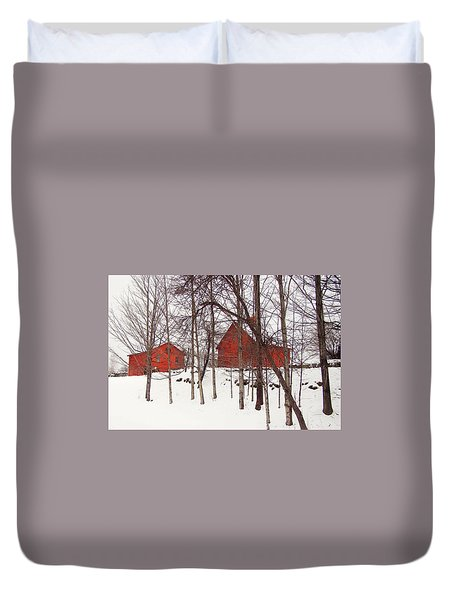 Red Barns Duvet Cover by Betsy Zimmerli