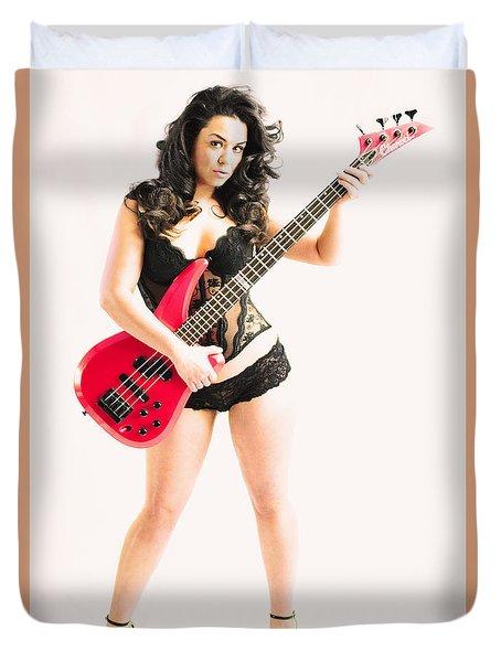 Red Bass Guitar Duvet Cover