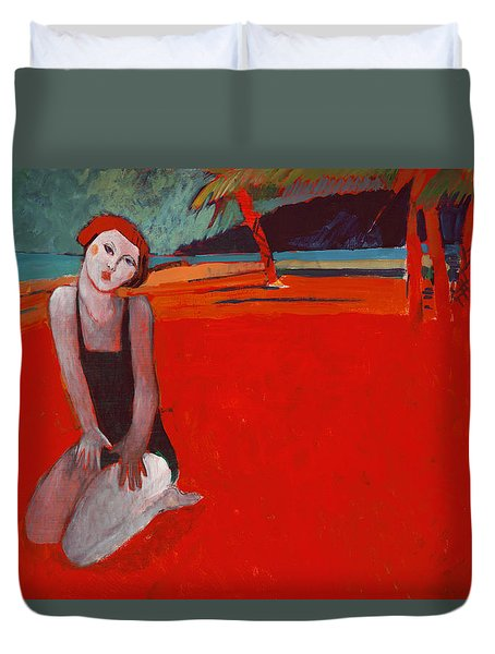 Red Beach Two Duvet Cover