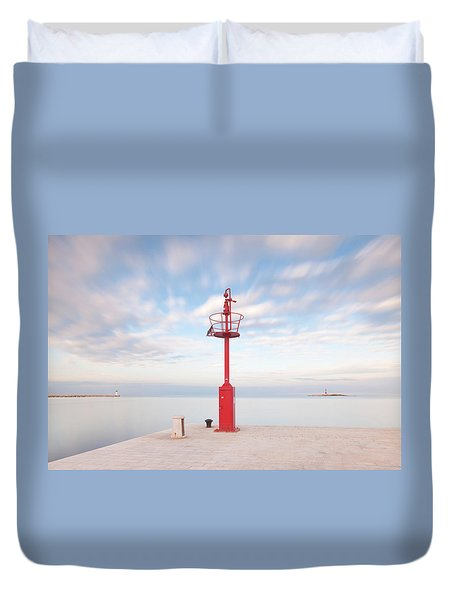 Duvet Cover featuring the photograph Red Beacon by Davor Zerjav
