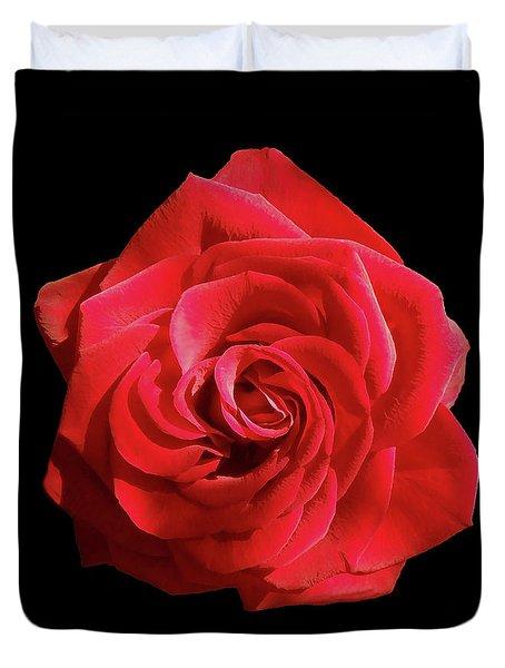 Red Beauty On Black Duvet Cover