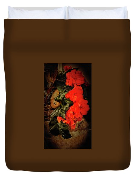 Duvet Cover featuring the photograph Red Begonias by Thom Zehrfeld