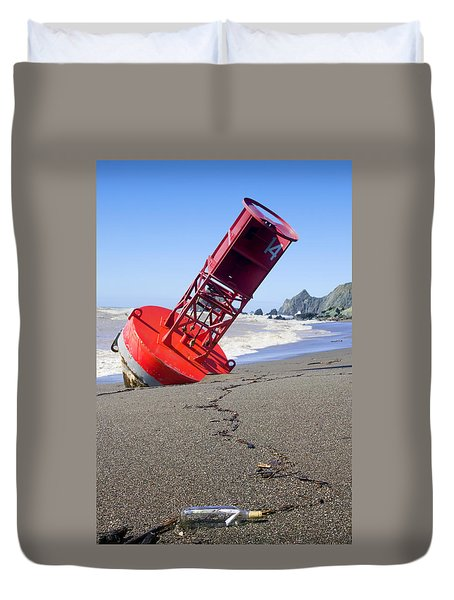 Red Bell Buoy On Beach With Bottle Duvet Cover by Garry Gay