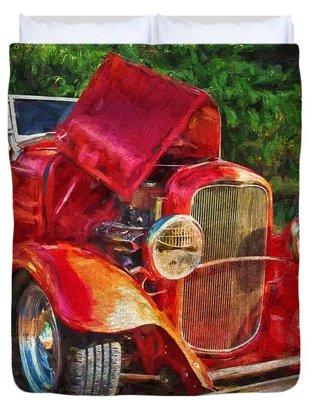 Duvet Cover featuring the photograph The Red Bell Roadster by Thom Zehrfeld