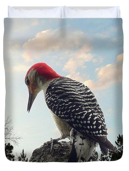 Red-bellied Woodpecker - Tree Top Duvet Cover by Al Powell Photography USA