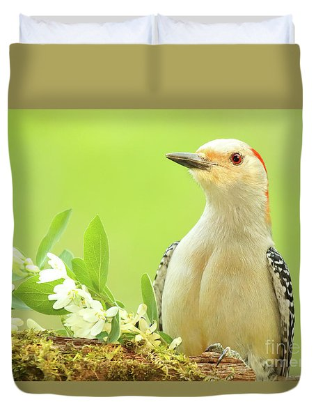 Duvet Cover featuring the photograph Red-bellied Woodpecker Among Flowers by Max Allen
