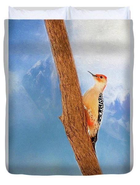 Duvet Cover featuring the digital art Red Bellied Woodpecker by Darren Fisher