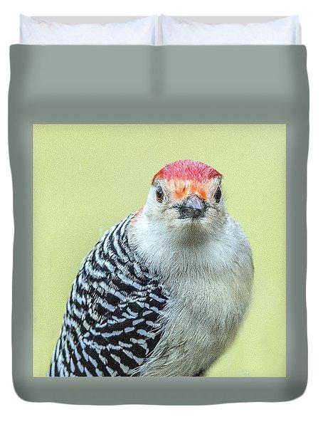 Red Bellied Woodpecker Portrait Duvet Cover