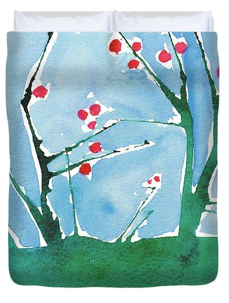 Red Berry Flowers Duvet Cover