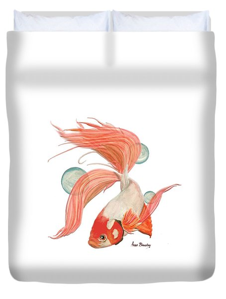Red Beta Fish Duvet Cover