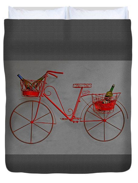 Red Bicycle With Wine Bottles - Duvet Cover Duvet Cover