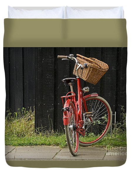Duvet Cover featuring the photograph Red Bike by Inge Riis McDonald