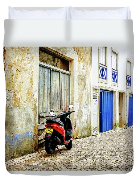 Duvet Cover featuring the photograph Red Bike by Marion McCristall