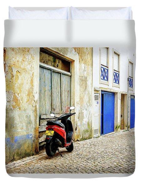 Red Bike Duvet Cover
