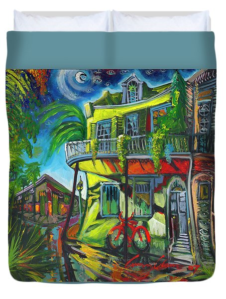 Duvet Cover featuring the painting Red Bike On Royal by Amzie Adams