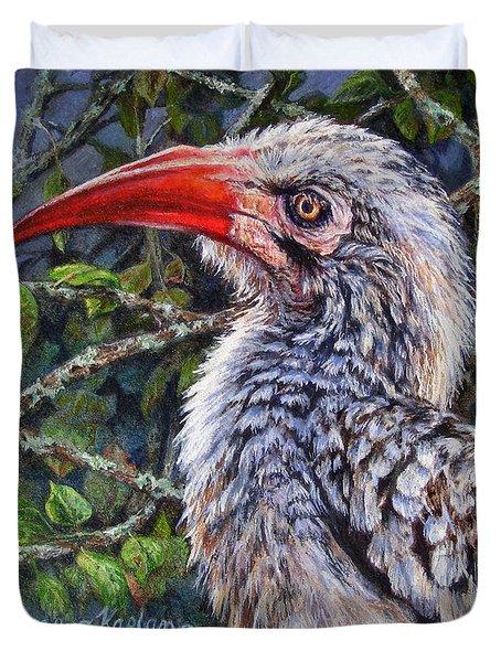 Red Billed Hornbill Duvet Cover