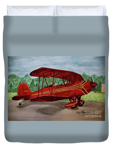 Red Biplane Duvet Cover