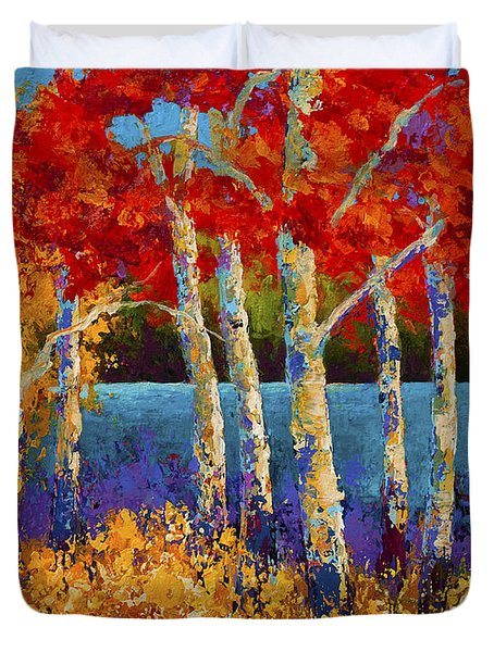 Red Birches Duvet Cover