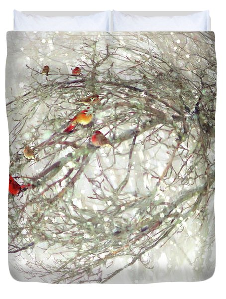 Red Bird Convention Duvet Cover