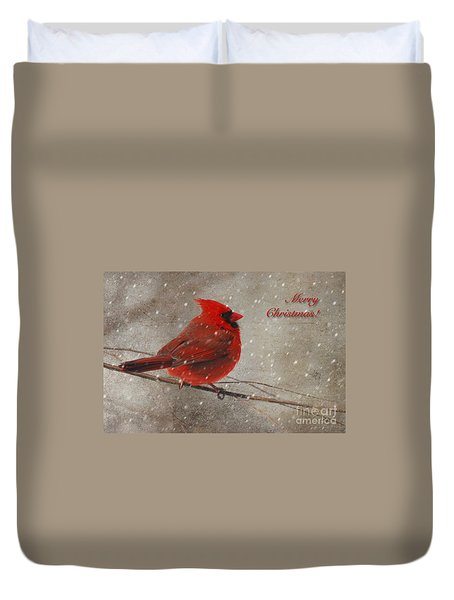 Red Bird In Snow Christmas Card Duvet Cover