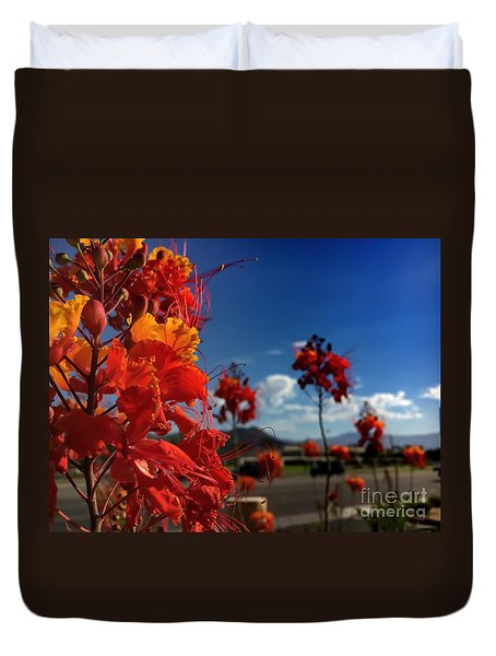 Red Bird Of Paradise Duvet Cover by Chris Tarpening