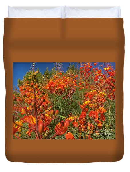 Red Bird Of Paradise Garden Duvet Cover by Chris Tarpening