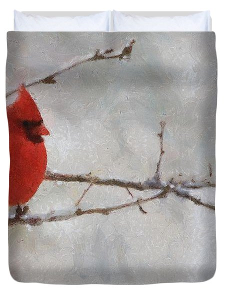 Red Bird Of Winter Duvet Cover