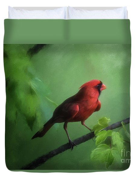 Duvet Cover featuring the digital art Red Bird On A Hot Day by Lois Bryan