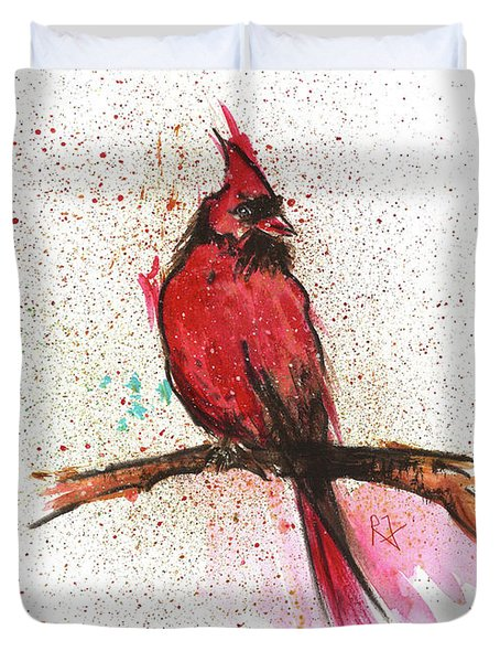Red Bird Duvet Cover by Remy Francis
