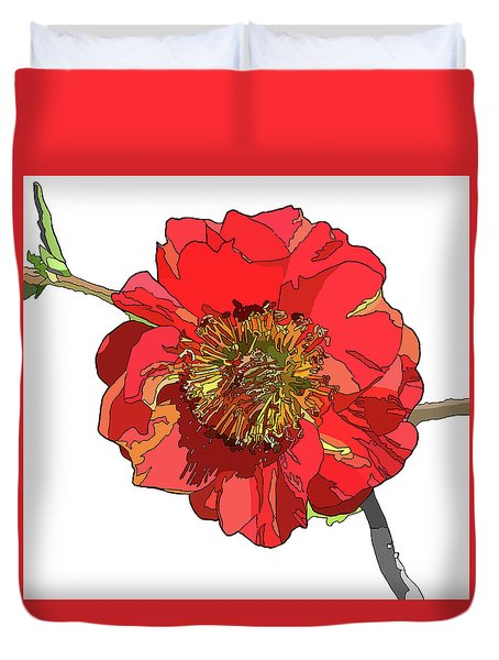 Red Blossom Duvet Cover by Jamie Downs
