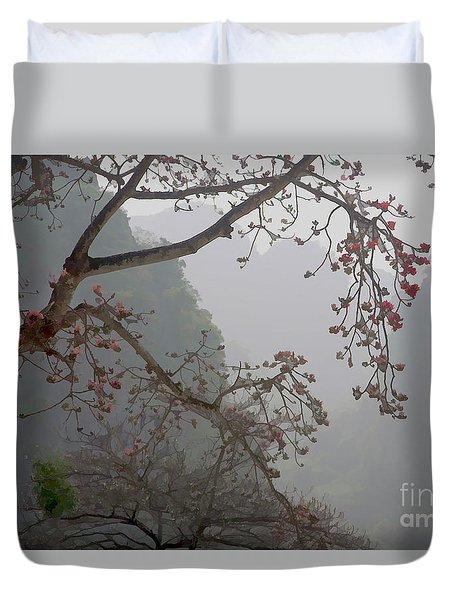 Red Blossoms  Vietnam  Duvet Cover