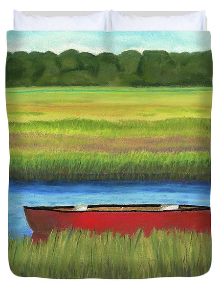 Red Boat - Assateague Channel Duvet Cover by Arlene Crafton