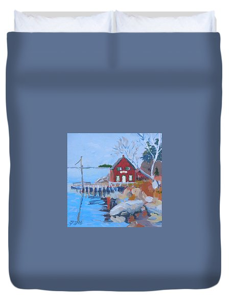 Duvet Cover featuring the painting Red Boat House by Francine Frank