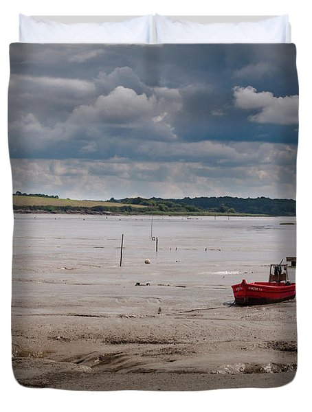 Red Boat On The Mud Duvet Cover