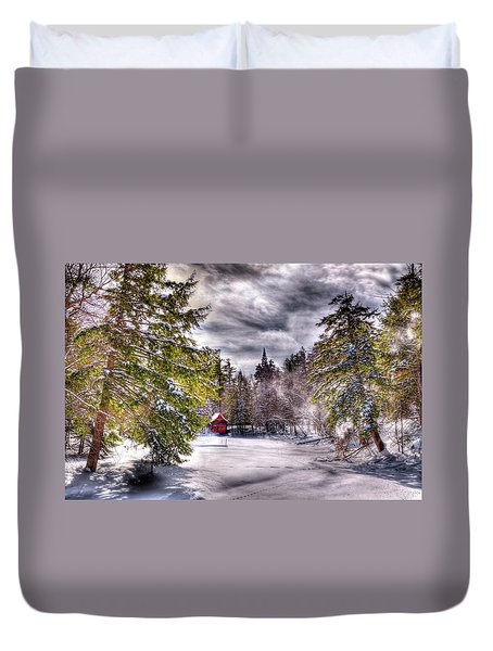 Duvet Cover featuring the photograph Red Boathouse After The Storm by David Patterson