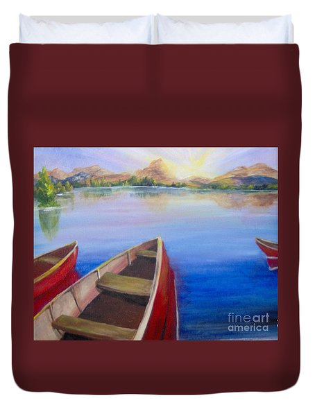 Duvet Cover featuring the painting Red Boats At Sunrise by Saundra Johnson