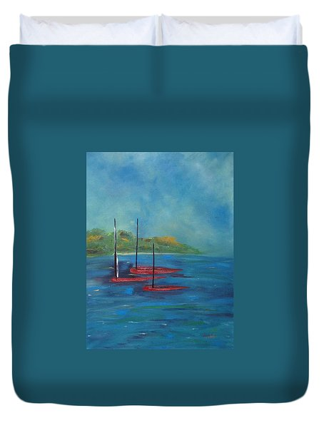 Duvet Cover featuring the painting Red Boats by Judith Rhue