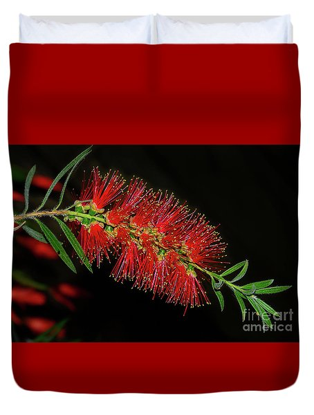 Duvet Cover featuring the photograph Red Bottlebrush By Kaye Menner by Kaye Menner