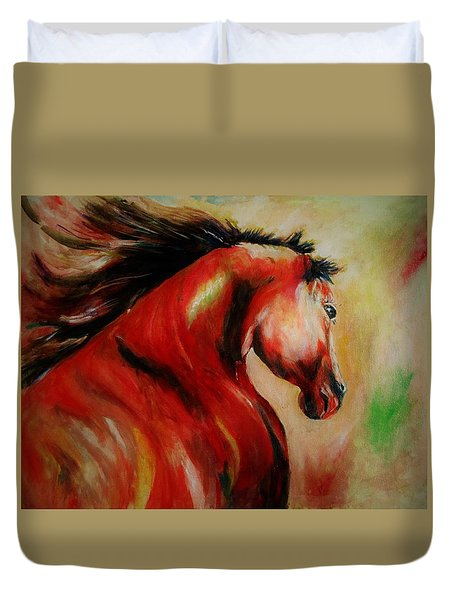 Red Breed Duvet Cover by Khalid Saeed