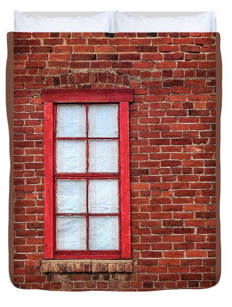 Red Brick And Window Duvet Cover by James Eddy