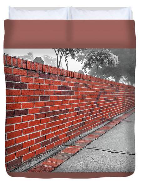 Duvet Cover featuring the photograph Red Brick by Doug Camara